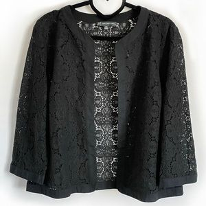 Adrianna Papell Black Floral Lace Jacket 12P